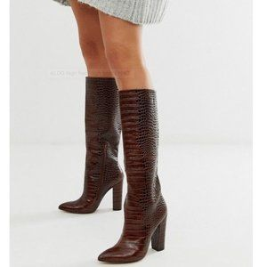 ALDO Leather Ibilia Block Heel Croc Print Boots